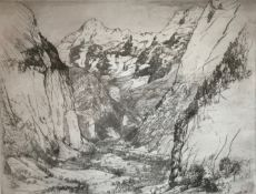 "Donald Shaw Maclaughlan (Canadian 1876-1938) ""Lauterbrunnen"" Swiss Alps signed etching"