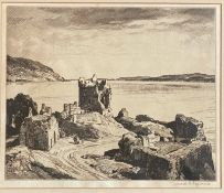 Leonard Russell Squirrel (RWS, RE, RI, PS, SGA 1893-1979) signed etching Urquhart Castle