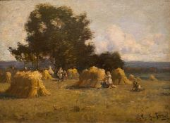Colin John Macintosh Scottish circa 1900'sartist original signed oil painting 'Harvest Scene'