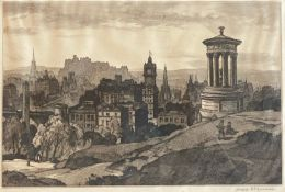 Leonard Russell Squirrel (RWS, RE, RI, PS, SGA 1893-1979) signed etching Edinburgh from Carlton Hill