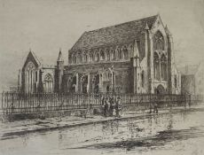 "David Young Cameron signed etching ""Paisley Abbey"""