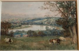 Goats grazing, St cloud overlooking Paris signed watercolour by Scottish artist David Farquharson