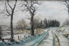 "John Ross, Contemporary Scottish artist, Large oil ""the road in winter"""