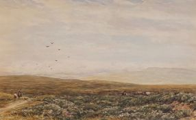 Large watercolour by James Orrock (Scottish 1829-1913 ARI 1871, RI 1875) Cattle on the Moor
