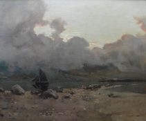Alexander Frew Scottish 1863–1908 Large signed oil Dusk over Loch Linnhe