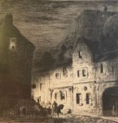 Signed etching depicing Old Edinburgh by Joseph Gray 1890-1963