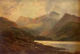 View of the Scottish Highlands signed oil by Alfred Fontville de Breanski 1877-1957 exhibited RA, R