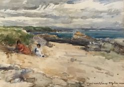 John Malaughlan Milne A.R.S.A, R.S.A, Watercolour Children on the Sand dunes