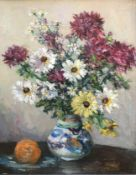 Attrib to Robert Dickie Cairns 1866-1944 R,S,A Oil still life chrysanthemums and Daisies