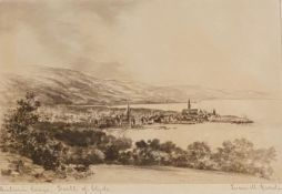 Ivan M Garden signed etching Historic Largs Firth of Clyde