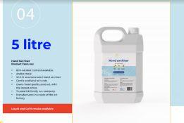 Alcohol-based hand sanitiser (80% Alcohol) Liquid Form 100 X 5L Jugs