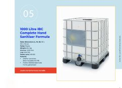 Alcohol-based hand sanitiser (80% Alcohol) Liquid Form 1X1000L IBC
