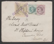 G.B. - Railways / T.P.Os 1901 Cover to London bearing 1/2d green + 1d lilac each cancelled by the un