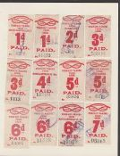 G.B. Railways 1917 North Staffordshire Railway c.1917 1d to 10 shillings red on white prepaid parcel