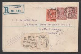 G.B. - Railways 1921 Registered cover from Frodsham to Dundee marked fragile and with additional dia
