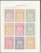 G.B. Railways c.1870 Great Western Railway newspaper parcel stamps - nine colour trials with 4d lila