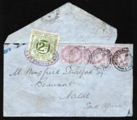 G.B. - Railways 1900 Cover (slight faults) from London to South Africa bearing a 2d London & South
