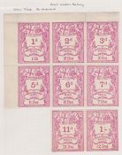 G.B. Railways c.1870 Great Western Railway newspaper parcel stamps colour trials in rose comprising