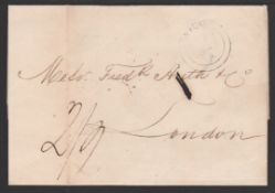 """G.B - Used Abroad / Spain 1849 (Sep. 10) 1849 Entire Letter from Vigo to London with the """"VIGO"""" doub"""