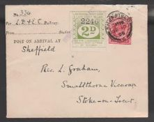 Great Britain - Railways 1906 Cover from Langwith Junction to Stoke on Trent franked by King Edward