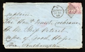 G.B. - Ship Letters - Devonport / Ireland / Cape Colony 1868 Cover from Derry franked 6d (faults) pa