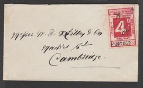 G.B. - Railways 1904 Cover to Cambridge franked London and North Western Railway 4d parcel stamp wit