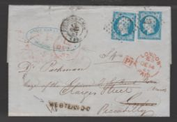 Great Britain - London 1857 Cover from France to London, redirected from the City to Piccadilly, wit