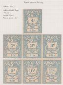 G.B. Railways c.1870 Great Western Railway newspaper parcel stamps - seven colour trials in sea blue