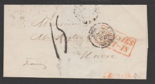 G.B. - Ship Letters - Plymouth / Madeira 1855 Stampless entire sent from Madeira to France via Engla