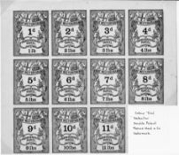 G.B. Railways c.1870 Great Western Railway newspaper parcel stamps - 11 colour trials in black in a