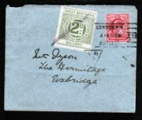 G.B. - Railways 1910 Cover (flap missing) to Uxbridge bearing KEVII 1d and a Great Northern Railway