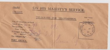 G.B. - Exhibitions / Telegrams 1936 O.H.M.S. Telegrams for Transmission envelope used to send four i