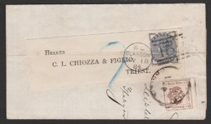 G.B - Scotland / Austria 1884 Printed Prices Current from Glasgow to Triest franked 1/2d (crossed...