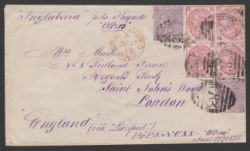 Argentina / G.B Used Abroad 1872 Cover from the British P.O in Rio de Janeiro to London endorsed...