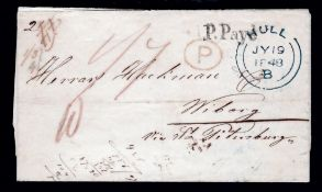 G.B. - Ship Letters - Hull / Finland 1848 Entire from Hull to Viborg, Fnland via Hamburg and St. Pet