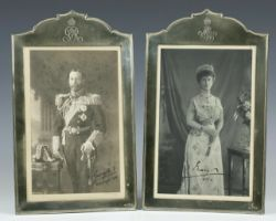 Royalty Stunning Silver Frames with King George V & Queen Mary signed pair of black & white