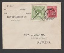 """G.B. - Railways / Isle of Wight 1906 Cover to Rev. Graham in Newark marked """"Post on arrival at Cowes"""