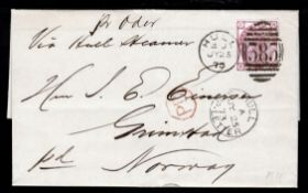 """G.B. - Ship Letters - Hull / Yorkshire 1873 Entire letter from Hull to Norway franked 3d with """"HULL"""