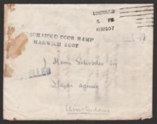 G.B. - Railways / Crash & Wreck 1907 (Feb 20) Cover from London to Amsterdam, stained and the stamp