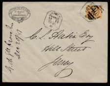 """G.B - Channel Islands 1881 Cover from St. Malo to Jersey with France 25c cancelled by boxed """"JERS..."""