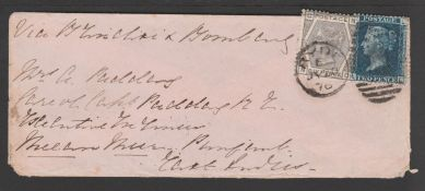 G.B. - Isle of Wight / Surface Printed 1876 Cover (minor corner faults) to India bearing 2d blue pla