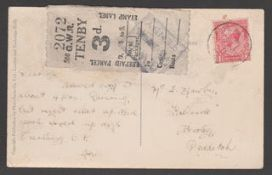 """Great Britain - Railways / T.P.O's 1931 Picture Post Card bearing King George V 1d tied """"SOUTH WALES"""
