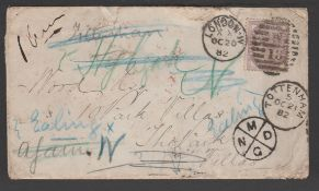 G.B. - London 1882 Cover franked 1d, posted within London, redirected by the Post Office several tim