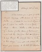 G.B. - Frees 1802 (Oct. 21) Letter written and signed by Rev. William Nelson at Hilborough, to the l