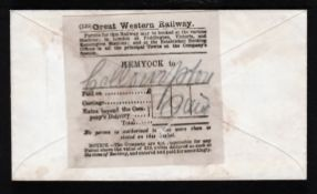 G.B. - Railway Letters c.1870 Cover from Hemyock to Collumpton carried as a railway parcel, the reve