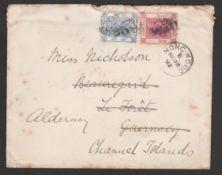 G.B. Channel Islands - Alderney / Hong Kong 1892 Cover (minor faults) bearing Hong Kong 2c + 5c, add