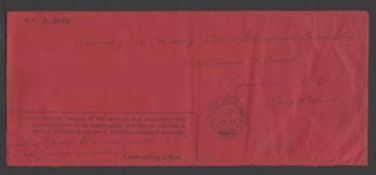 G.B. - World War I 1916 Black on red Honour Envelope for urgent personal matters, used to England fr