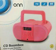 6 x onn portable cd player boombox with digital fm radio