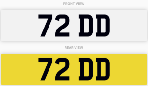 72 DD , number plate on retention