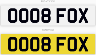 OO08 FOX , number plate on retention
